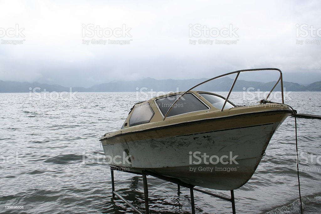 Boat on a lake stock photo