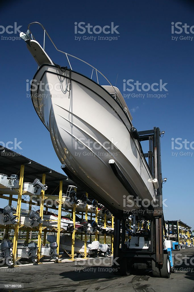 Boat on a Lift royalty-free stock photo