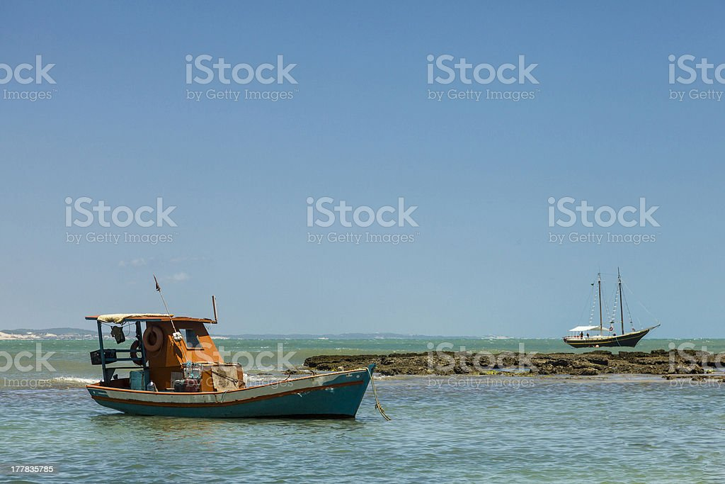 Boat on a reef royalty-free stock photo