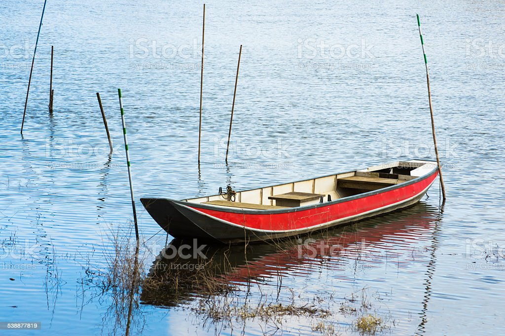 Boat on a river stock photo