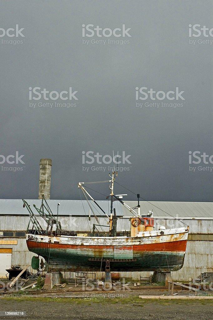 Boat on a shipyard stock photo