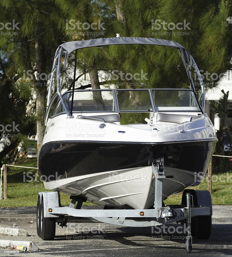 A boat on a trailer out of water stock photo
