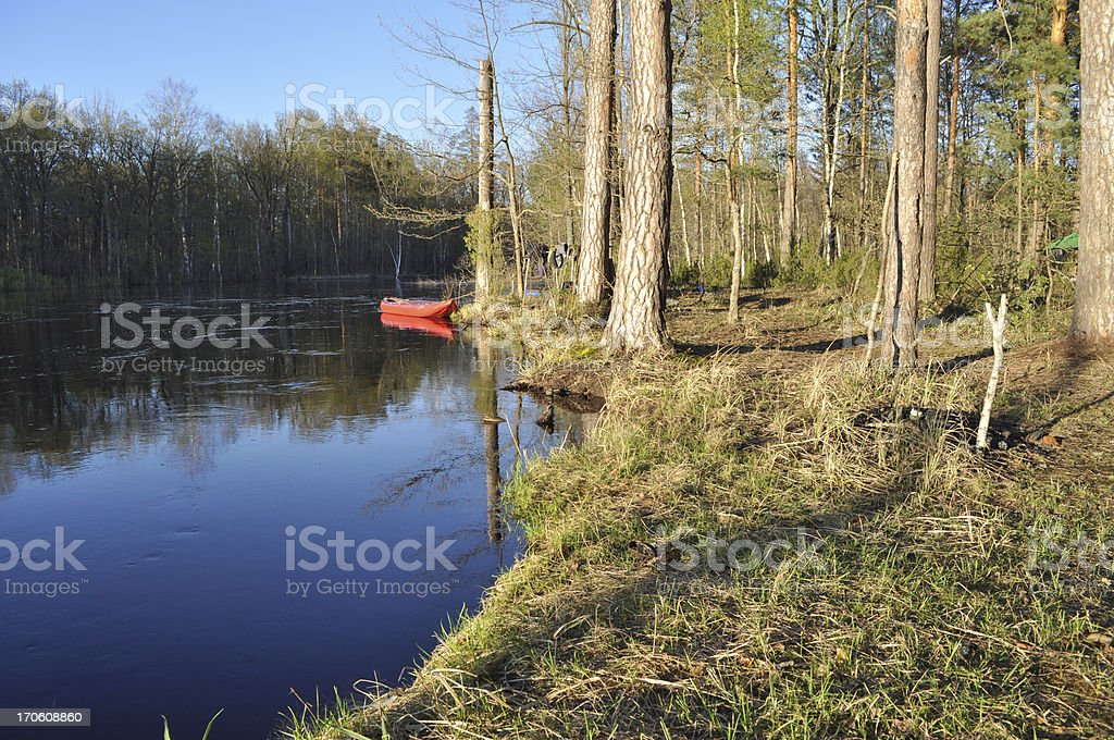Boat on  background of the river. royalty-free stock photo