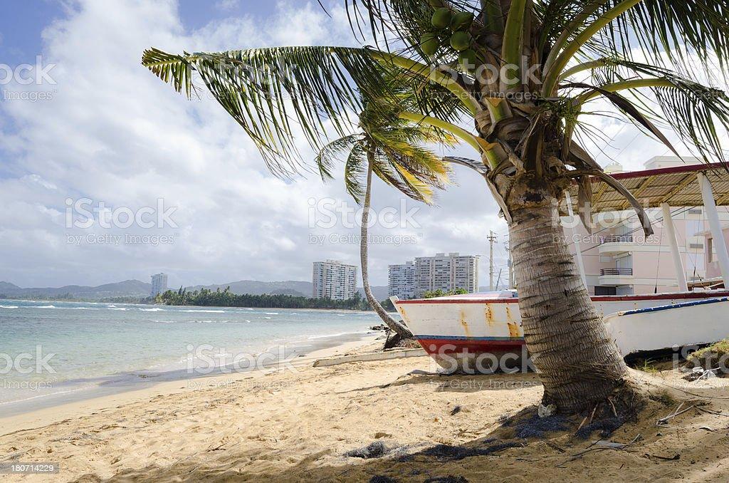 Boat on beach at Playa Azul in Puerto Rico royalty-free stock photo
