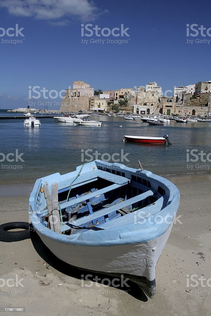 Boat on Beach in Sicily royalty-free stock photo