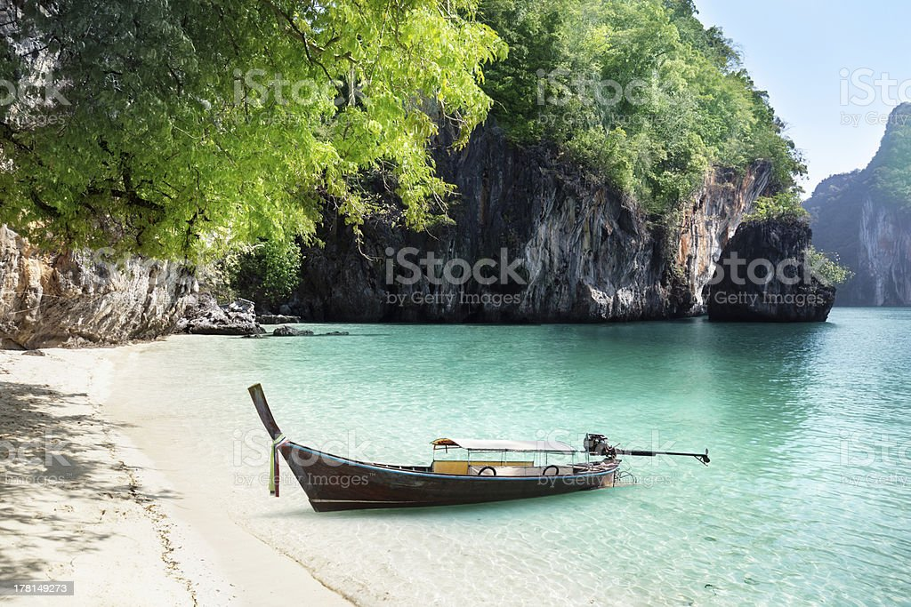 boat on beach of island in Krabi Province, Thailand royalty-free stock photo