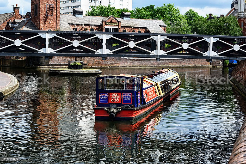 Boat on Birmingham Canal Old Line stock photo