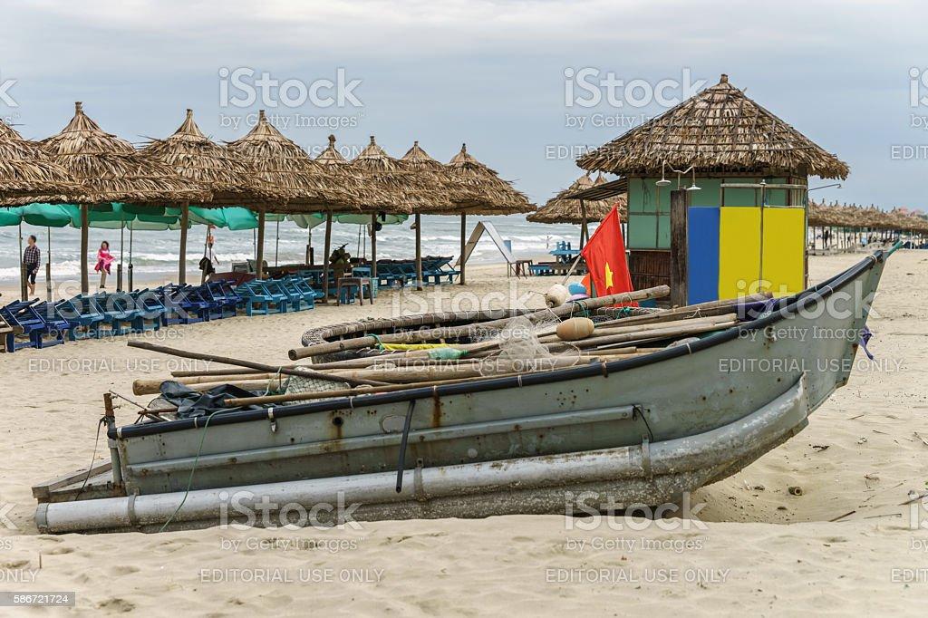 Boat on China Beach in Danang in Vietnam stock photo
