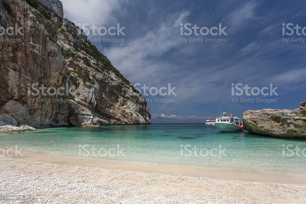 Boat on crystal water royalty-free stock photo
