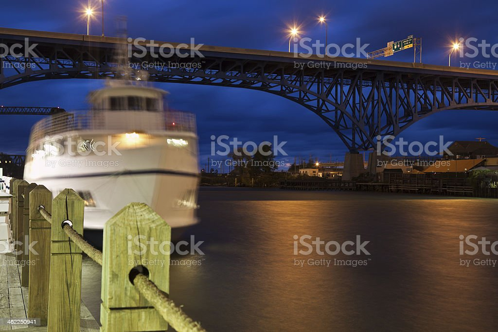 Boat on Cuyahoga River stock photo