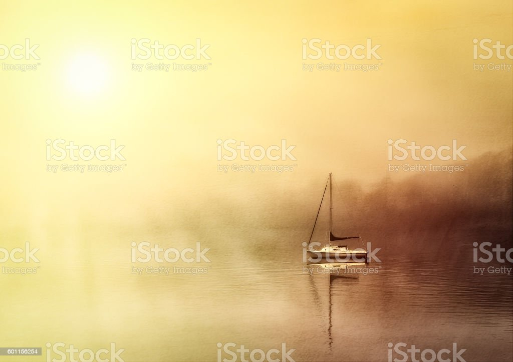 Boat on foggy lake windermere stock photo