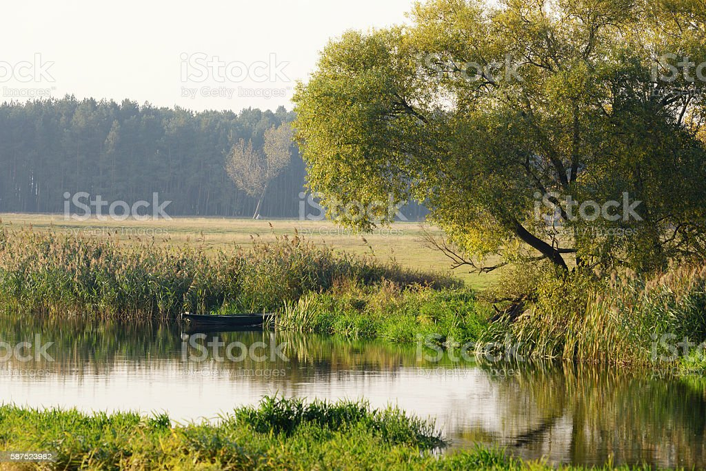 boat on Havel river. Havelland (Brandenburg, Germany). stock photo