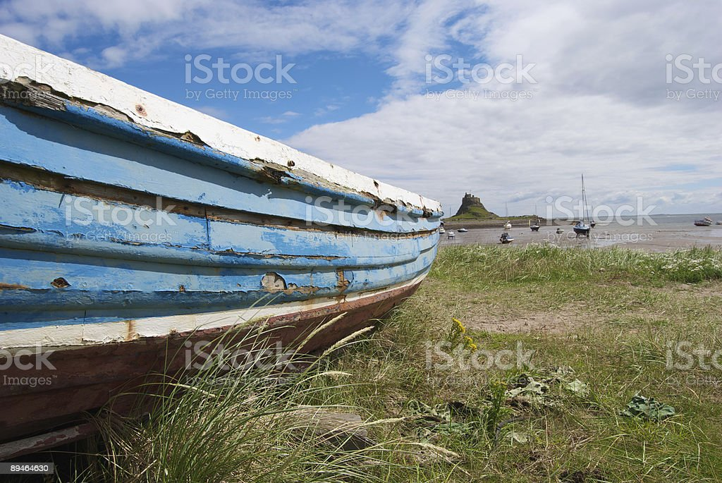 Boat on Holy Island stock photo