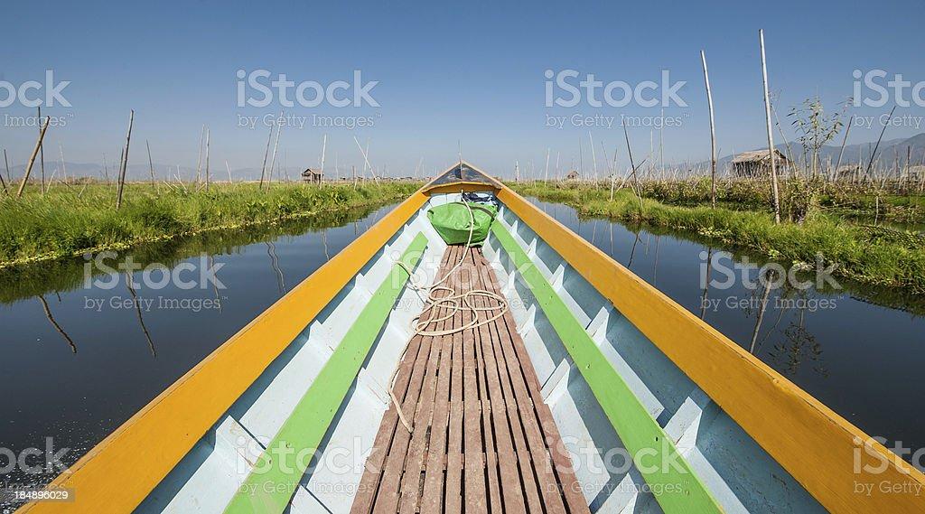Boat on Inle lake royalty-free stock photo