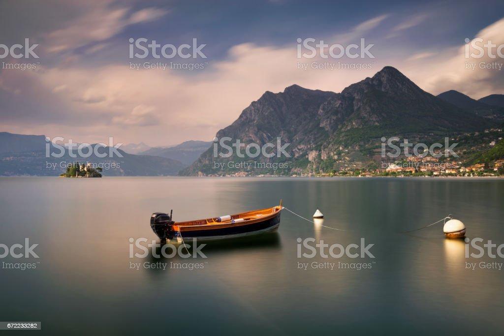Boat on Iseo stock photo