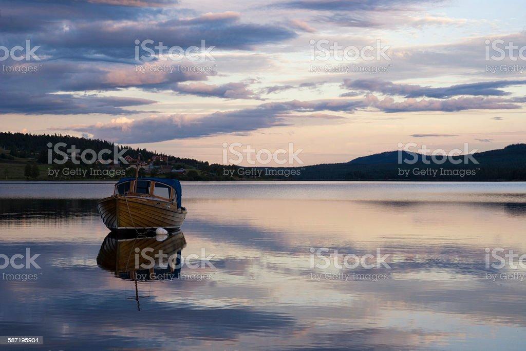 Boat on lake Funasdalssjon stock photo