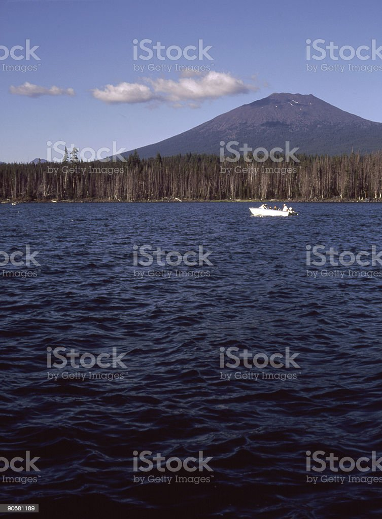 Boat on Lake in Wilderness royalty-free stock photo