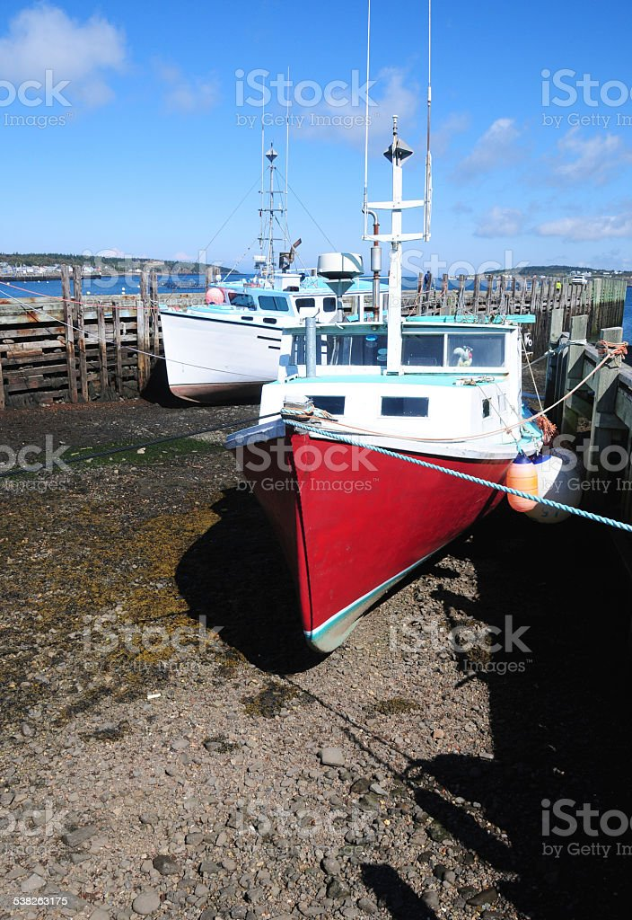 Boat on Land, Peggy's Cove, Nova Scotia, Canada stock photo