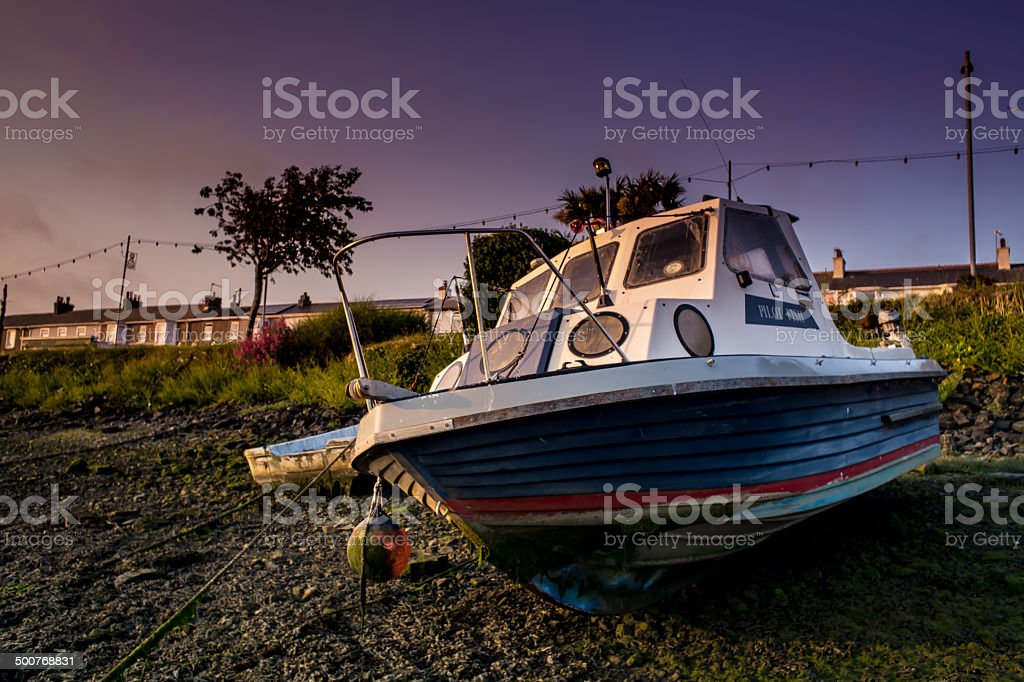 Boat on land stock photo