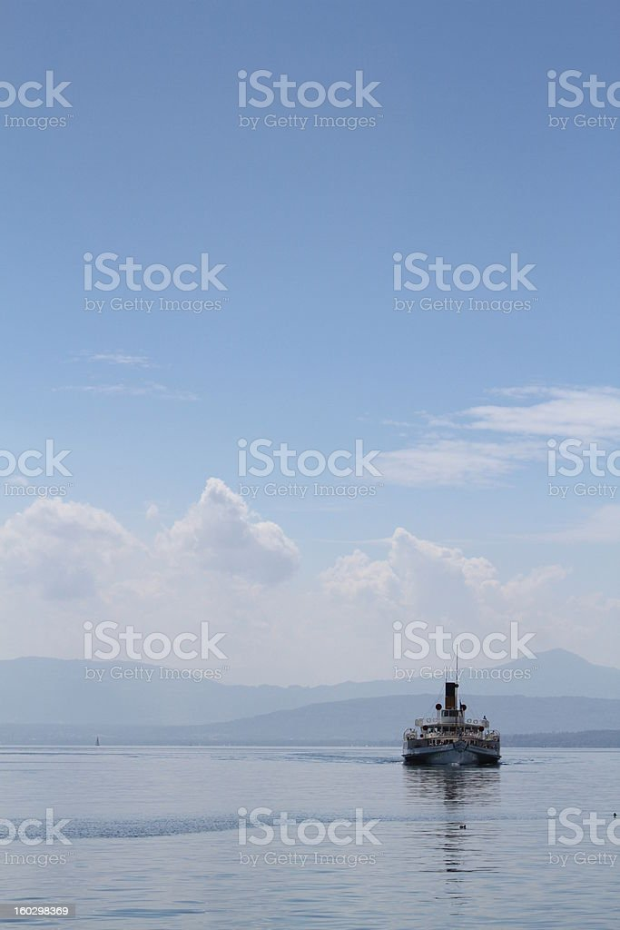 boat on leman lake stock photo