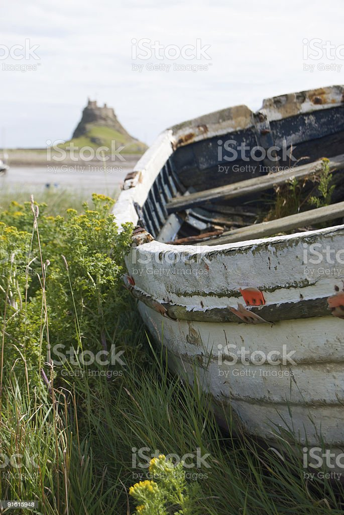 Boat on Lindisfarne, Northumberland stock photo