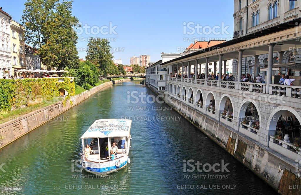 Boat on Ljubljanica river, Ljubljana, Slovenia stock photo