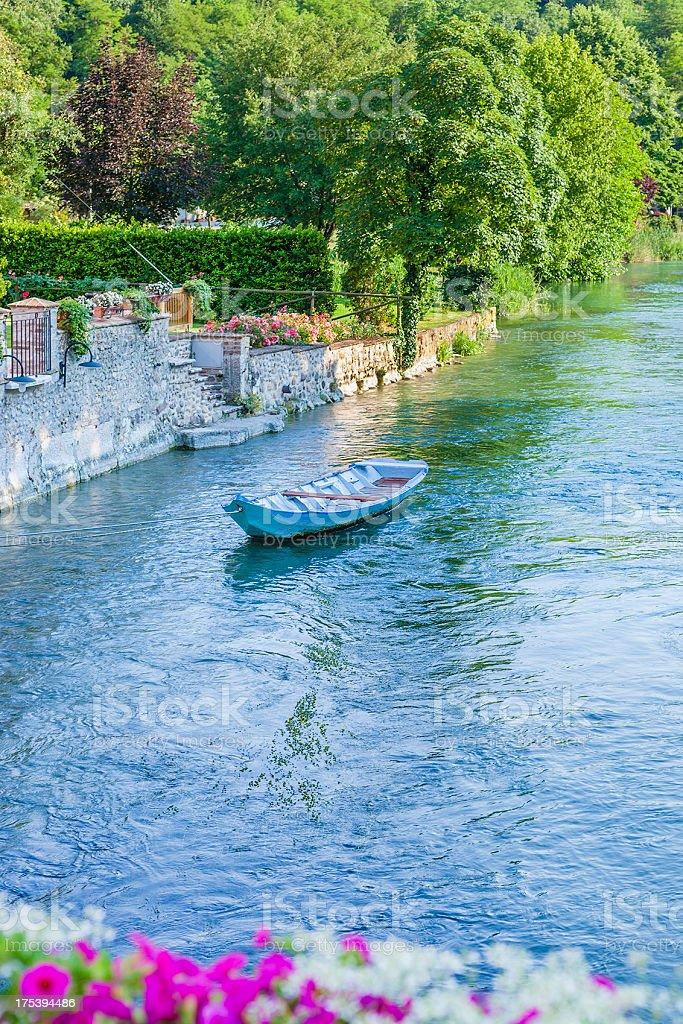 Boat on Mincio River, Italy royalty-free stock photo