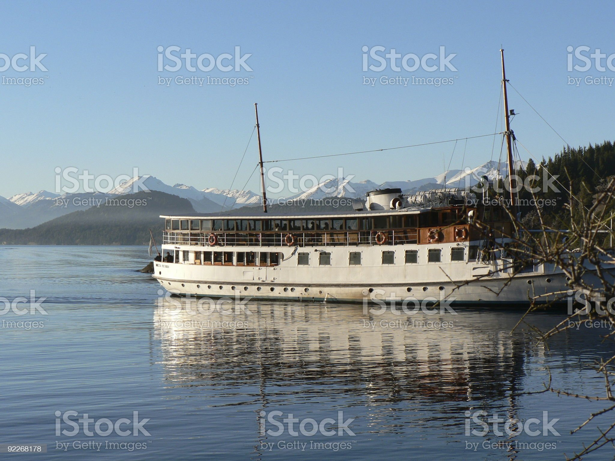 Boat on Nahual Huapi Lake royalty-free stock photo