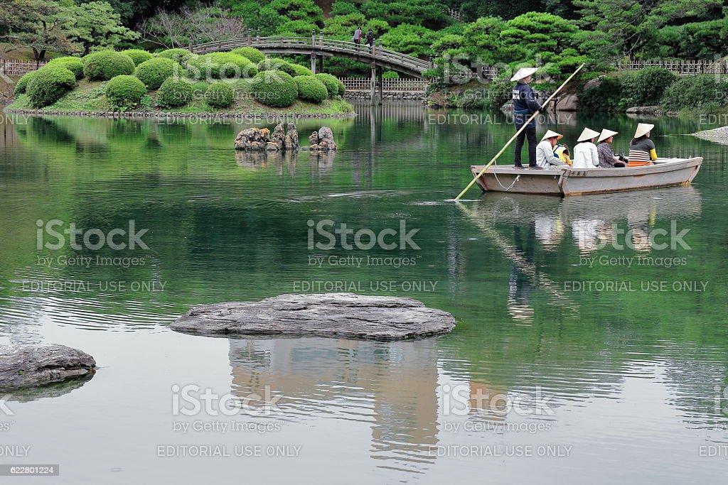 Boat on Nanko-South Pond of the Ritsurin Koen-park. Takamatsu-Japan. 7131 stock photo