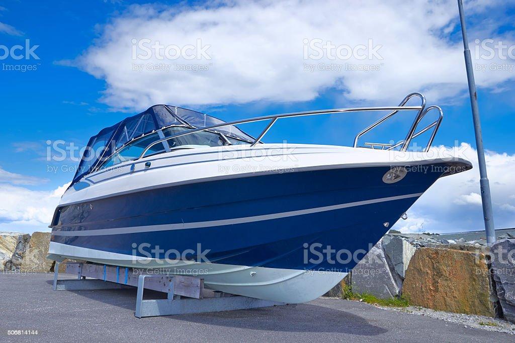 boat on repair stock photo