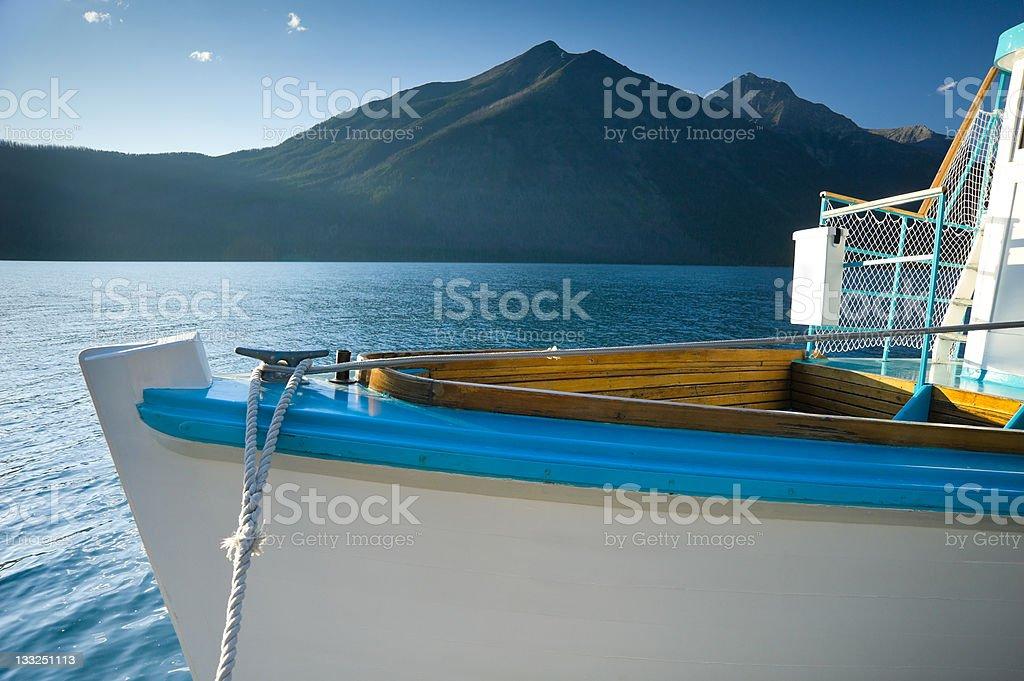 Boat on Scenic Lake MacDonald Glacier National Park Montana royalty-free stock photo
