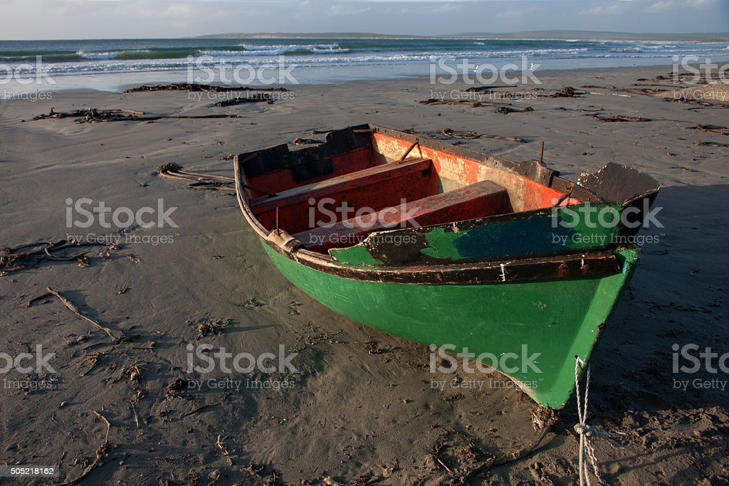Boat on the beach at Paternoster South Africa stock photo