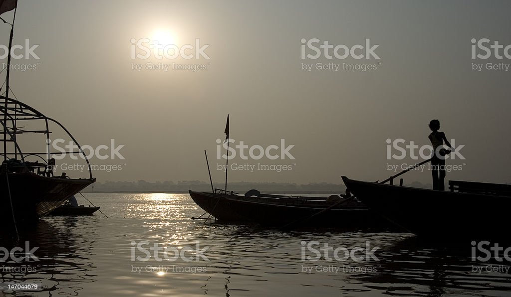 Boat on the Ganges royalty-free stock photo
