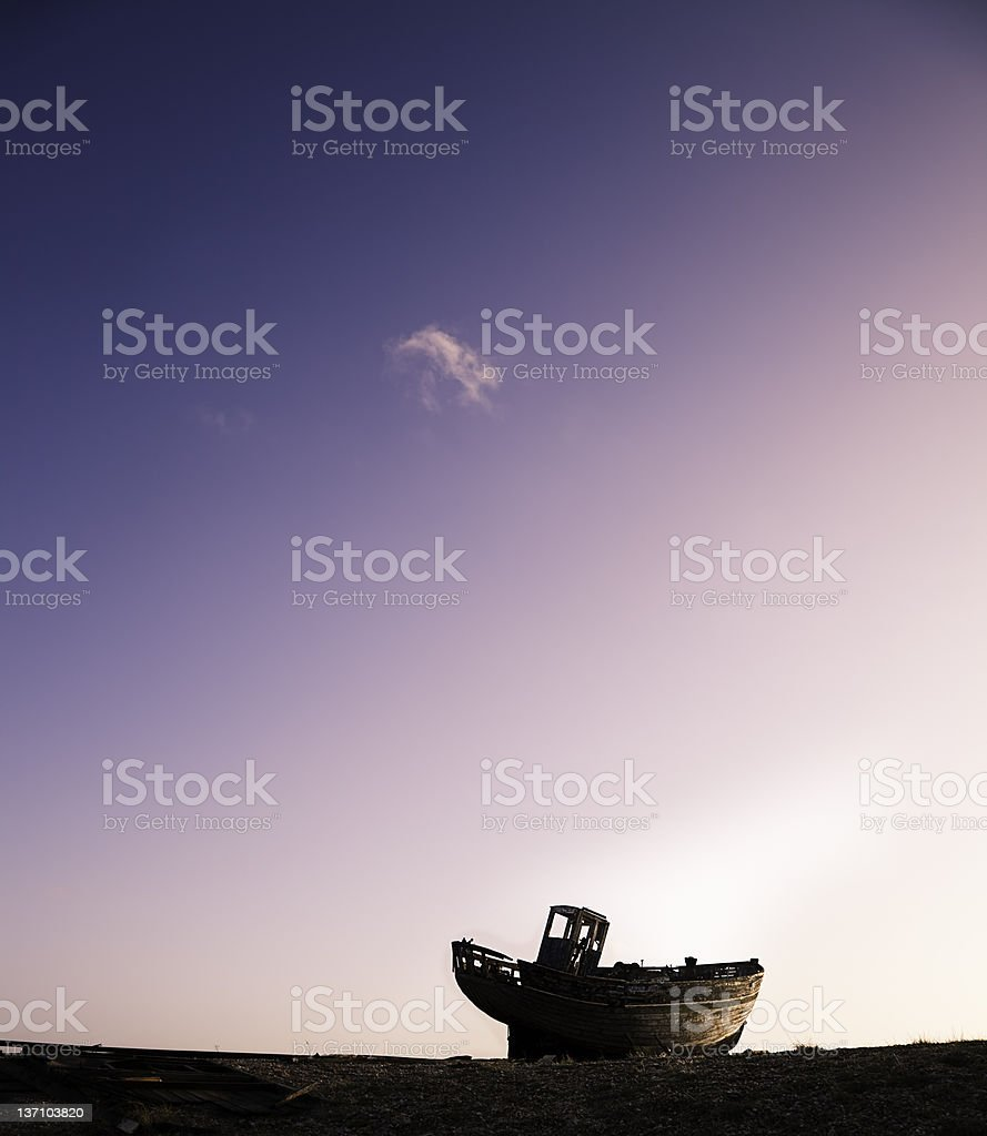 Boat on the horizon royalty-free stock photo