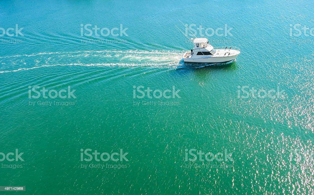 Boat on the ionic caribbean sea stock photo