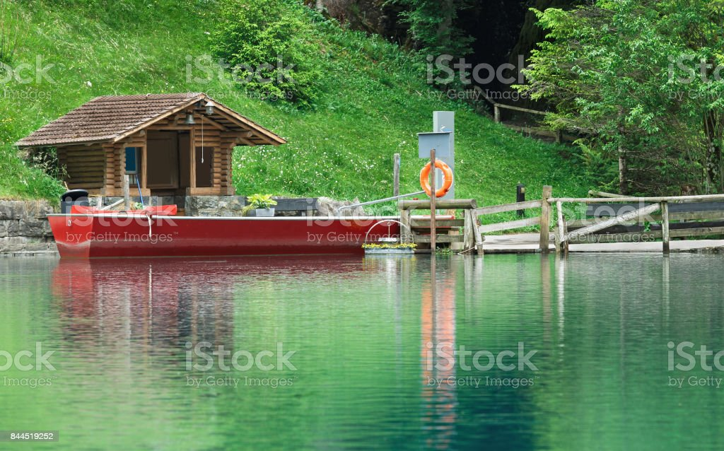boat on the lake Blausee stock photo