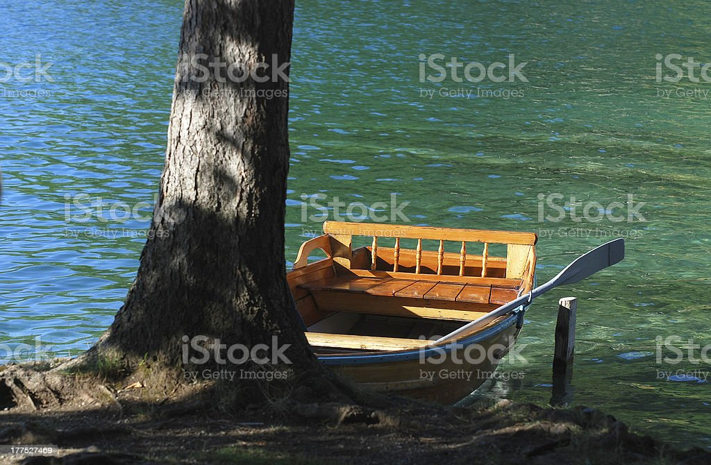 boat on the lake Bled stock photo