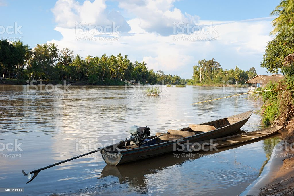 Boat on the Mekong river - landscape stock photo