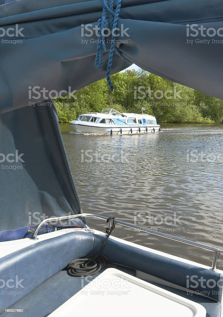 Boat on the Norfolk Broads royalty-free stock photo