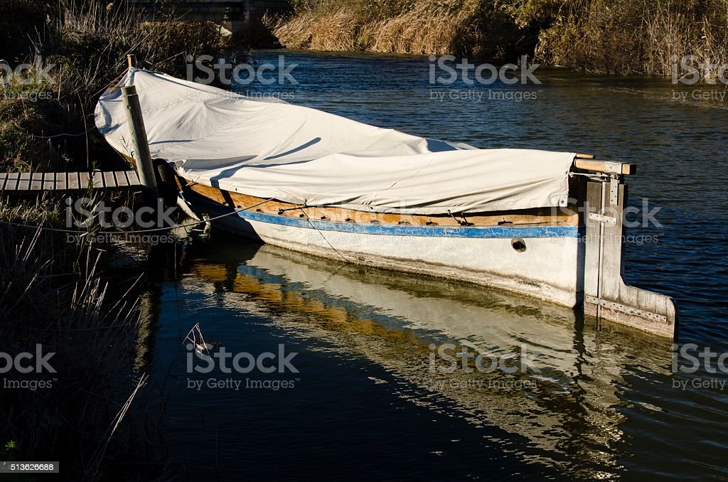 Boat on the river in Albufera, Spain stock photo