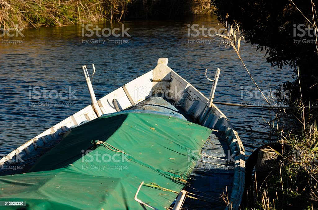 Boat on the river stock photo