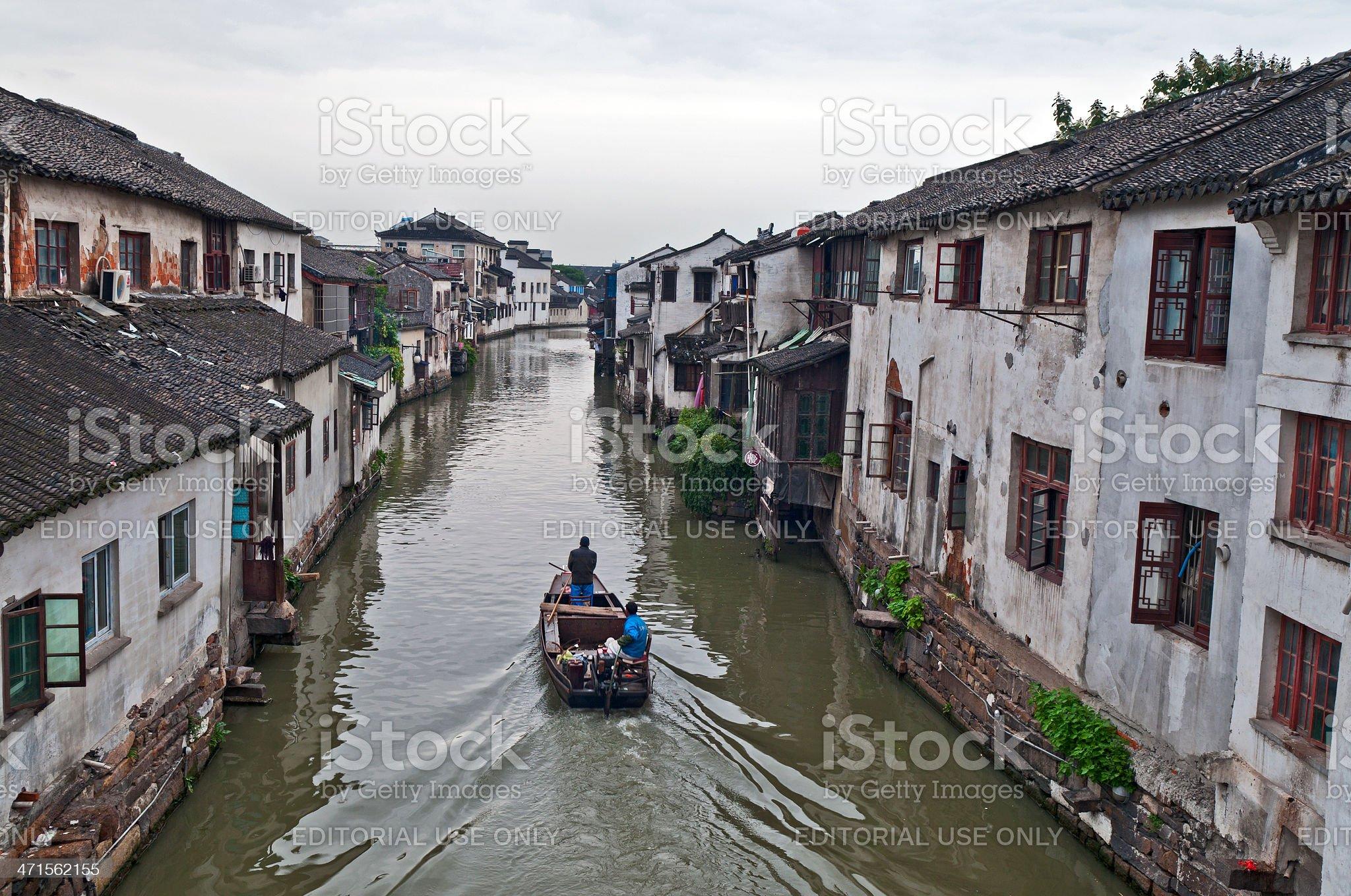 Boat on The Shantang River Suzhou China royalty-free stock photo