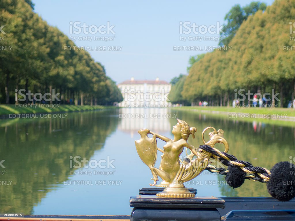 boat on the water, Schleissheim palace stock photo