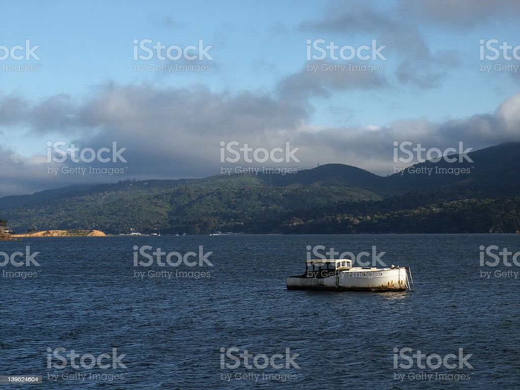 Boat on Tomales Bay royalty-free stock photo
