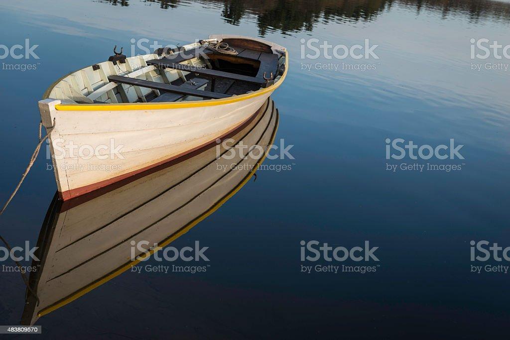 Boat on Vermont Lake stock photo