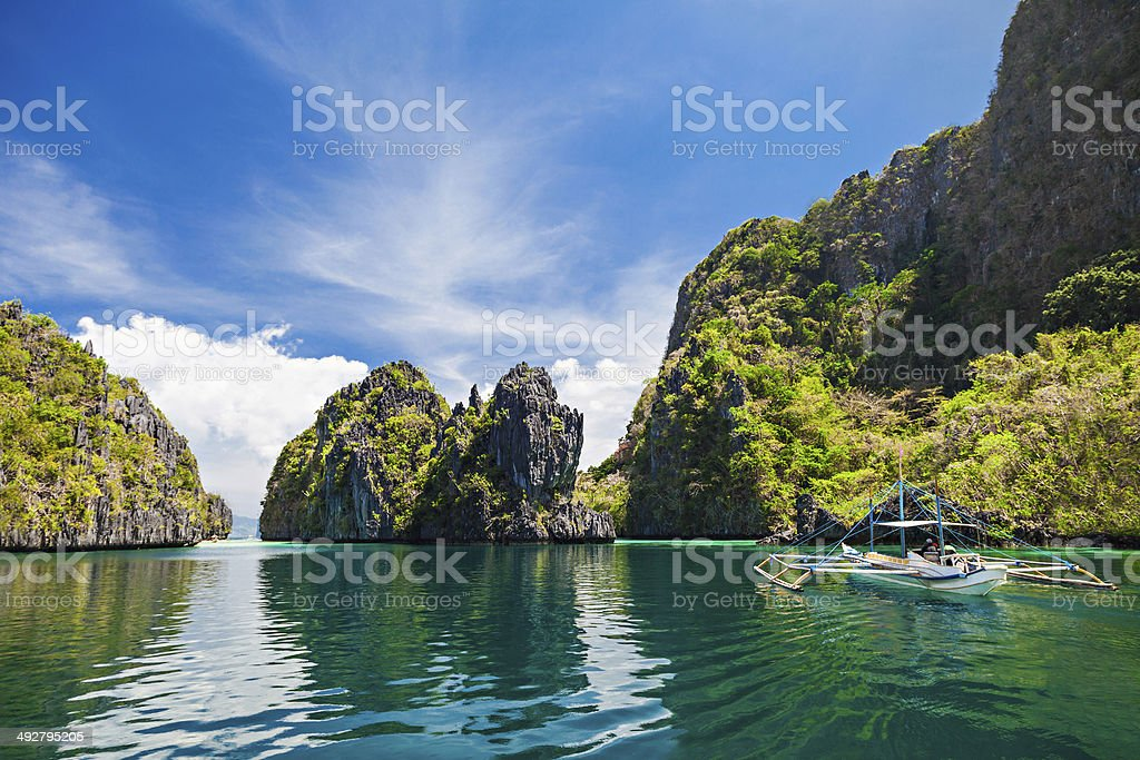 Boat on water stock photo