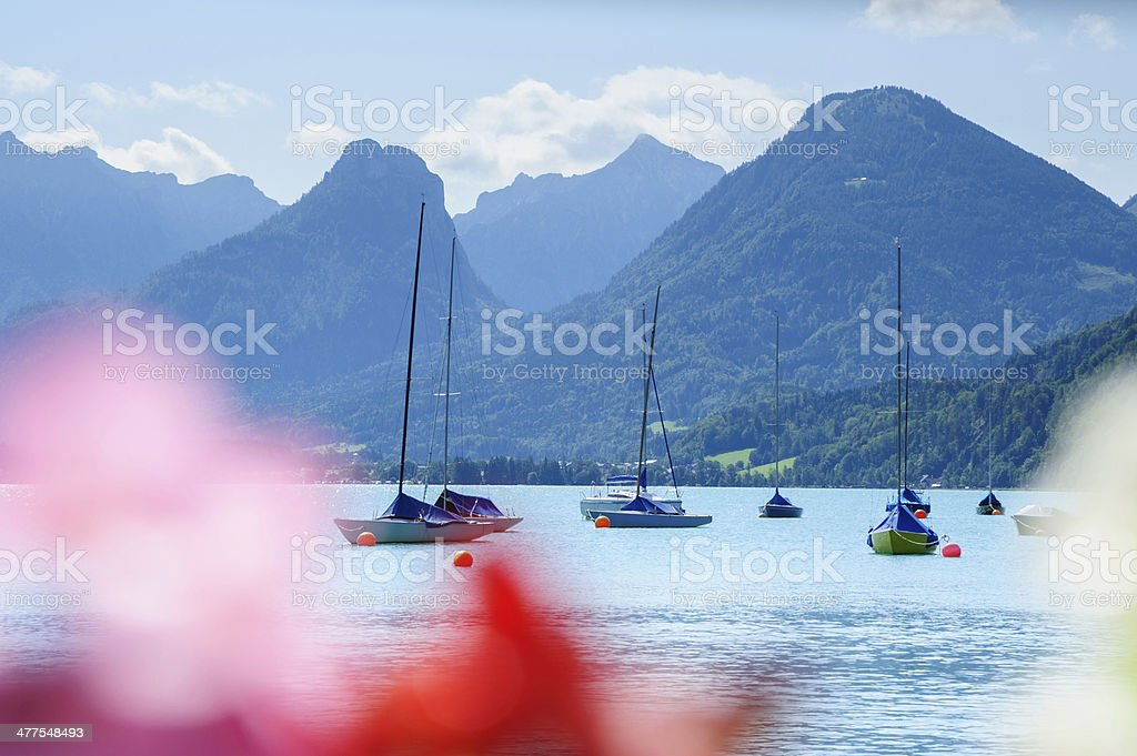 Boat on Wolfgang Lake, Austria stock photo