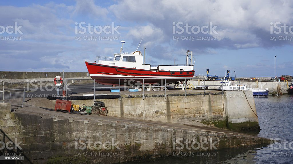 boat out of water Northumberland stock photo