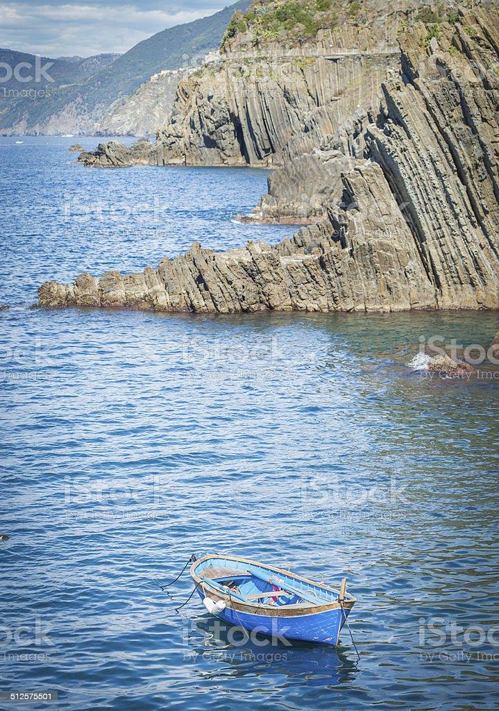 Boat Over Sea Of Riomaggiore, Cinque Terre stock photo