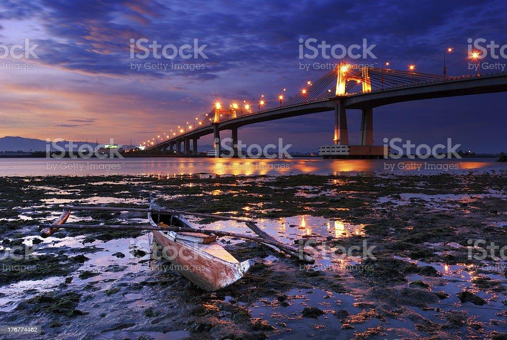 Boat overlooking a mactan bridge 2 royalty-free stock photo